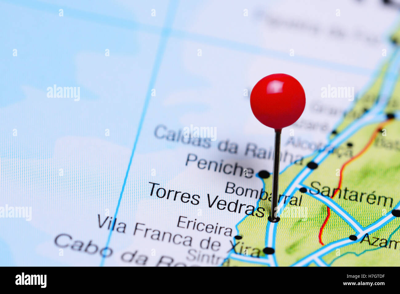 Torres Vedras pinned on a map of Portugal - Stock Image