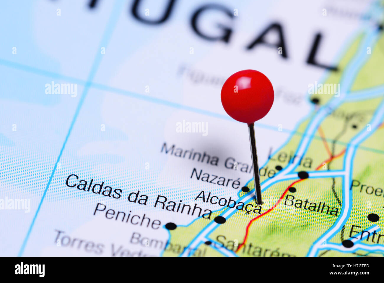 Alcobaca Pinned On A Map Of Portugal Stock Photo 125145621 Alamy