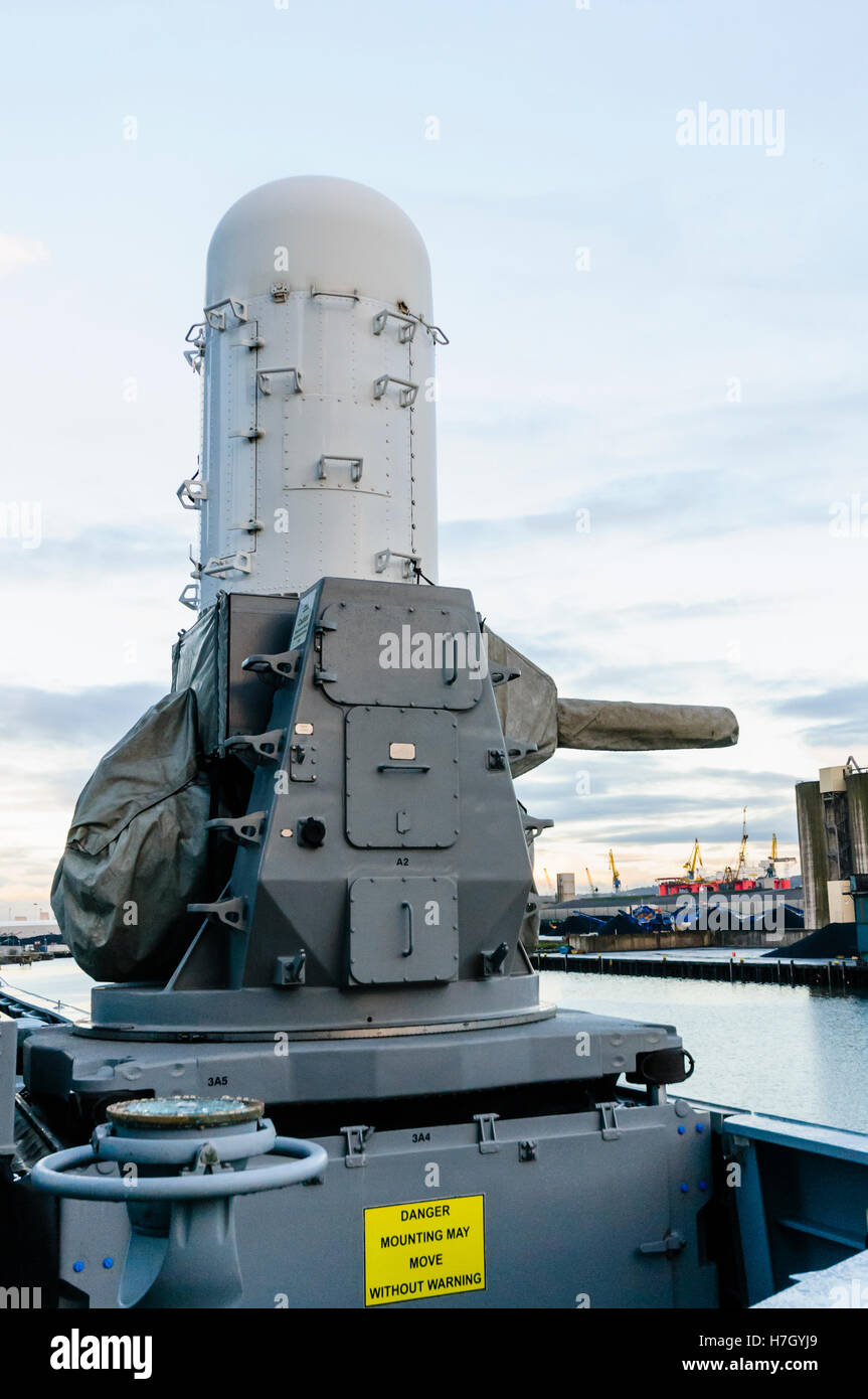 Belfast, Northern Ireland. 4th Nov, 2016. Phalanx CIWS anti missile defence system, which can fire over 100 20mm - Stock Image