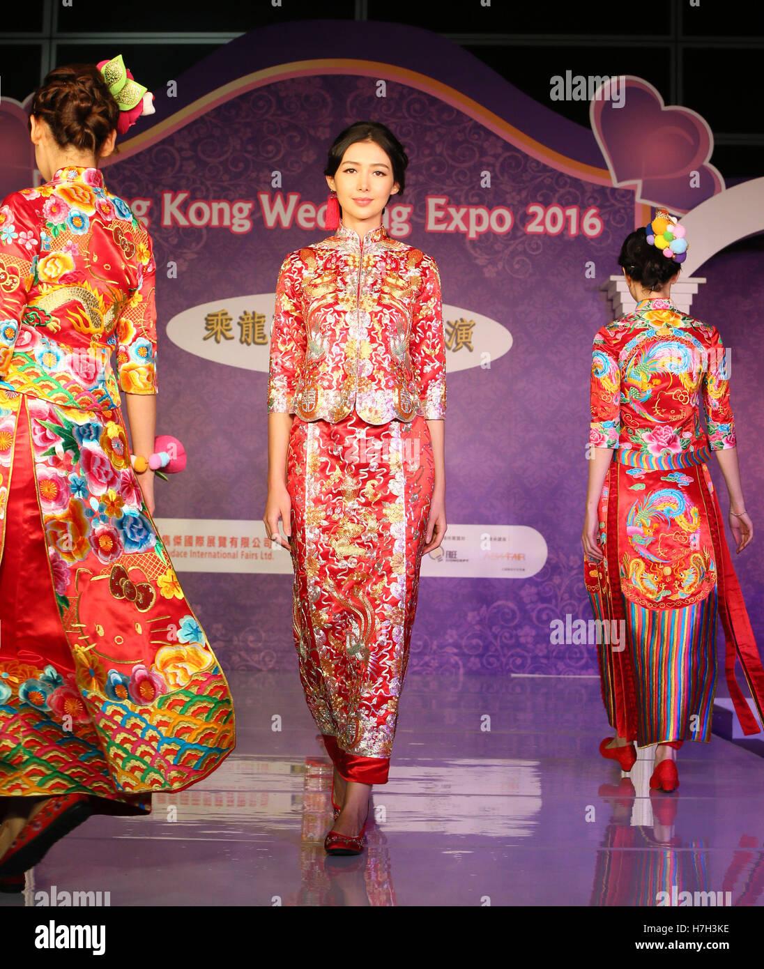 Models present Chinese traditional wedding dresses at Hong Kong Wedding  Expo 2016 in Hong Kong 59ab174eab