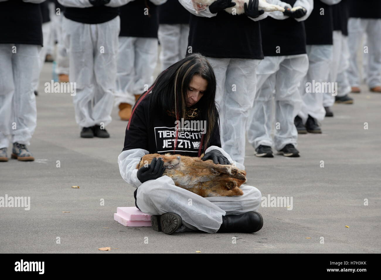 Vienna, Austria. 5thNovember, 2016. 600 men were stationed and kept a dead animal in their arms for an hour, The Stock Photo