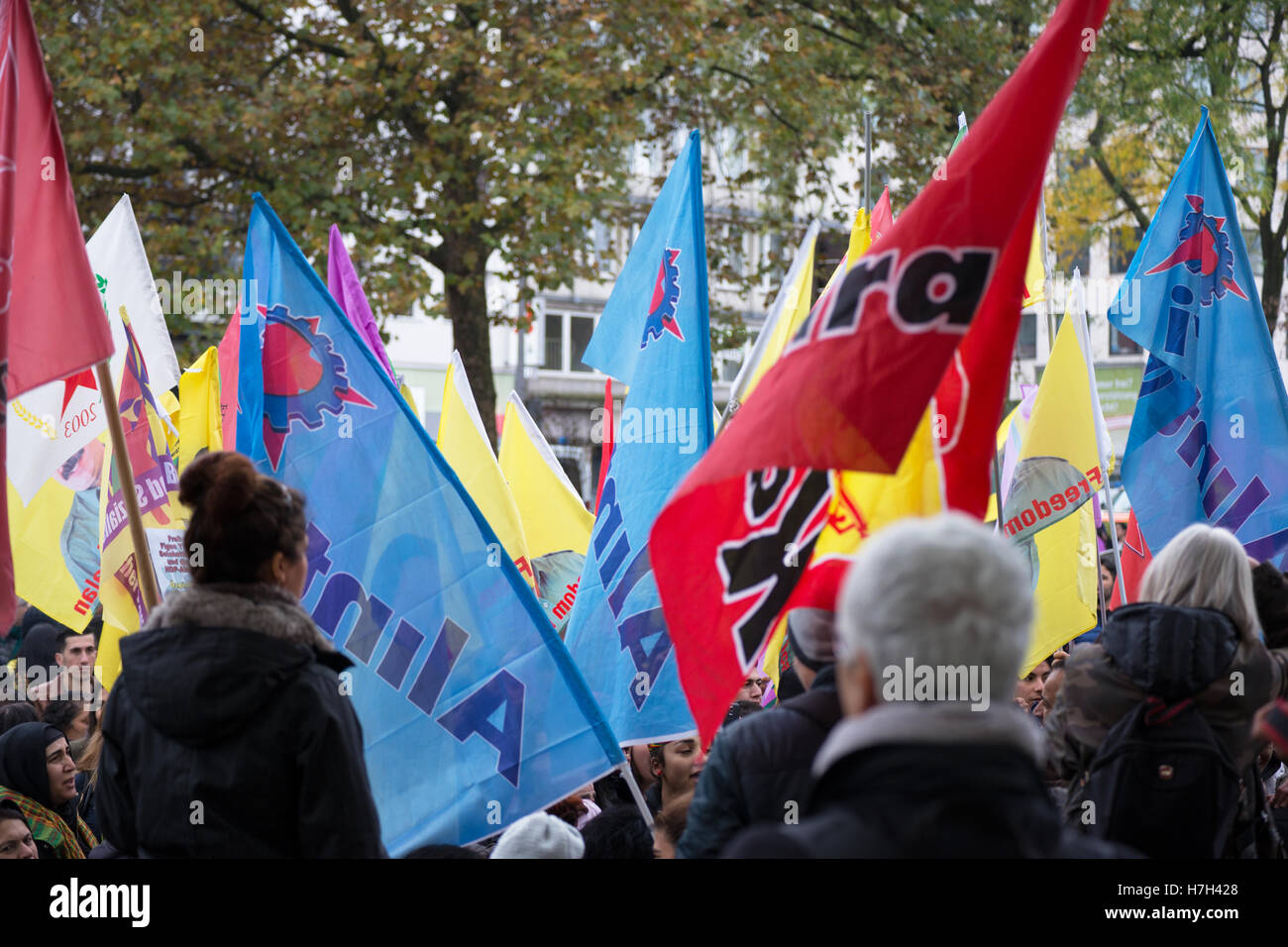 Cologne, Germany: 05, November, 2016. Demonstration of Kurdish people against the policy of Erdogan and the latest - Stock Image