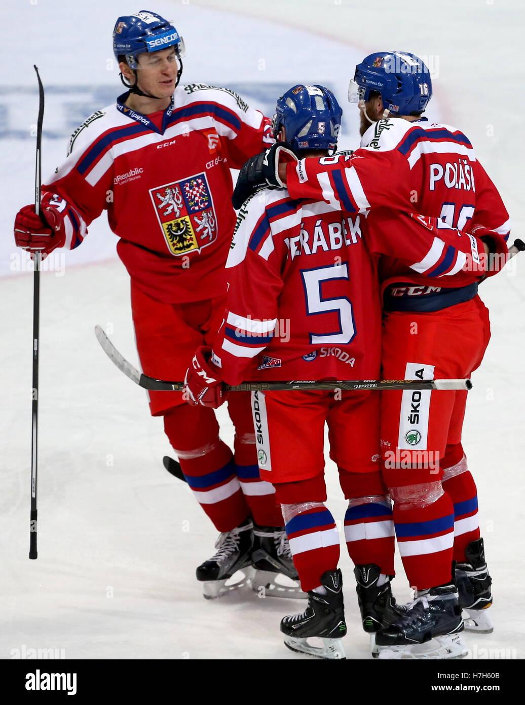 Helsinki, Finland. 5th Nov, 2016. The Czech Republic's Lukas Radil, Jakub Jerabek, and Adam Polasek (L-R) celebrate Stock Photo
