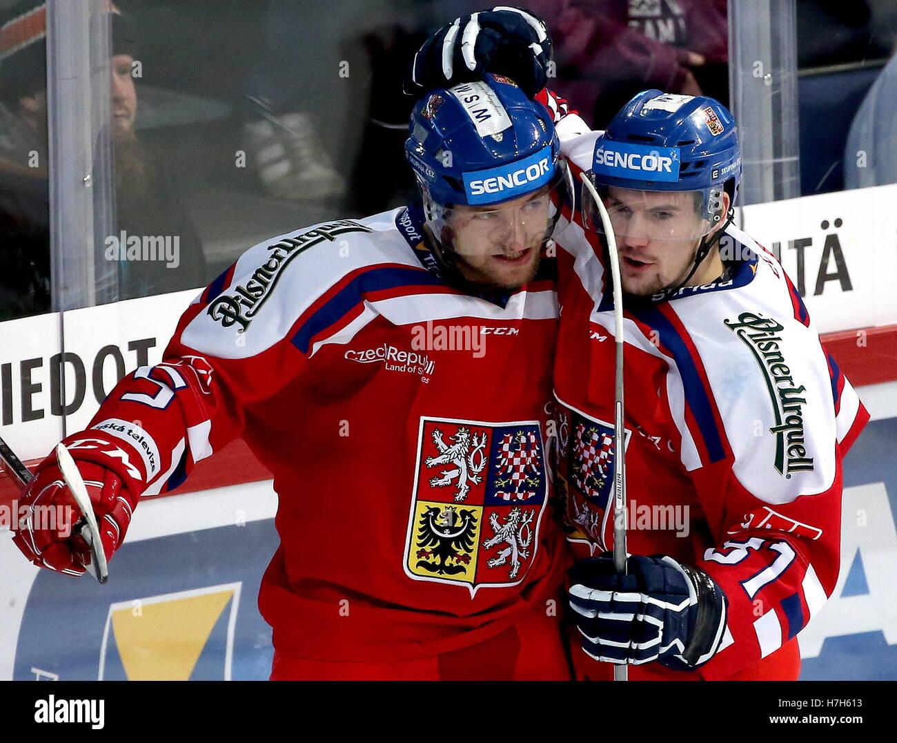 Helsinki, Finland. 5th Nov, 2016. The Czech Republic's Jakub Jerabek (L) and Petr Holik celebrate a goal against Stock Photo