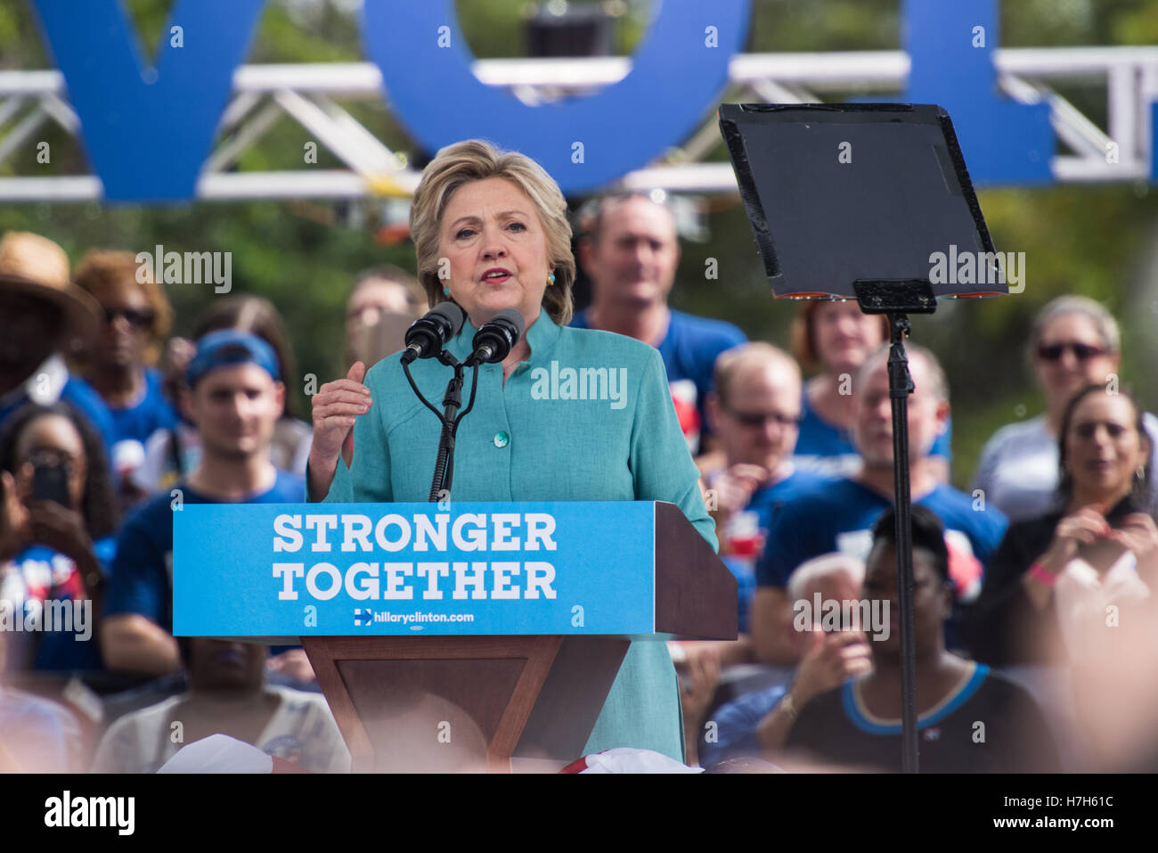 Hillary Clinton, former Secretary of State and Candidate for President of the US at a campaign rally 3 days before Stock Photo