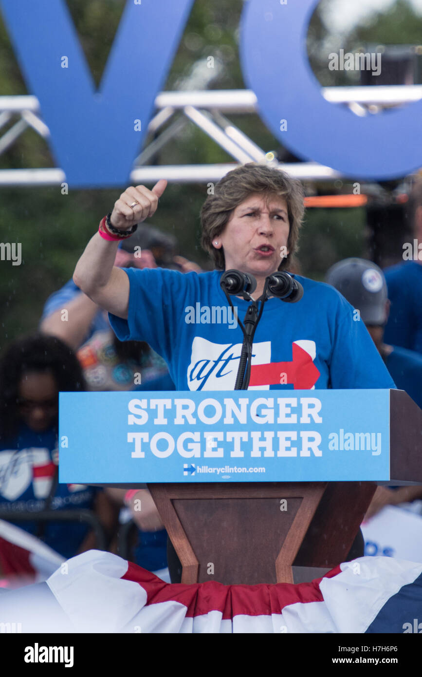 Randi Weingarten, AFT President, at campaign rally in Pembroke Pines, Florida, for Hillary Clinton for President. Stock Photo