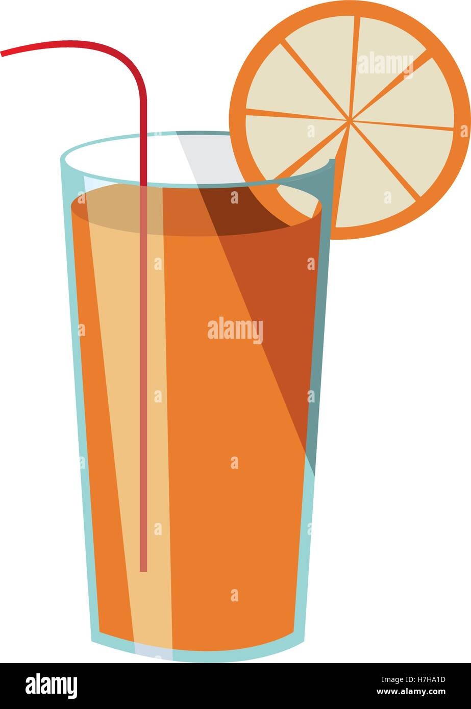 cocktail drink with orange slice and straw icon over white