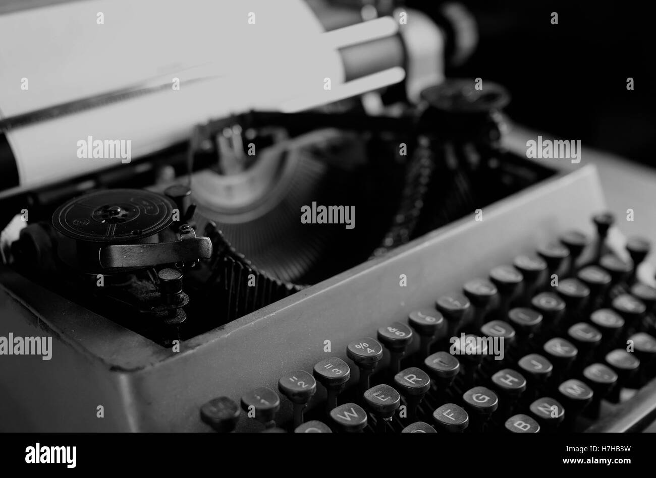 black and white retro typewriter letter - Stock Image