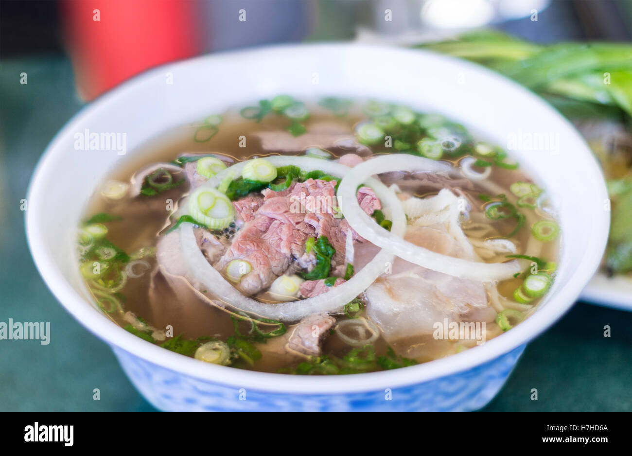 Bowl Of Vietnamese Pho Noodle Soup With Rare Beef Tendon Tripe And Stock Photo Alamy