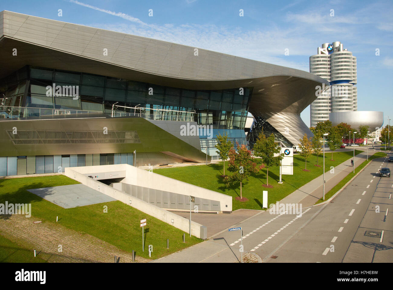 BMW Factory Showrooms by the car manufacturing site in Munich... BMW Factory, Car plant, - Stock Image