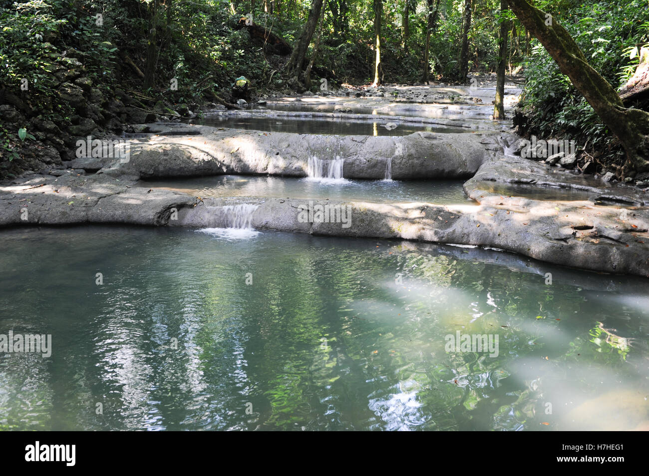 Waterfalls of siete altares on the forest at Livingston on Guatemala - Stock Image