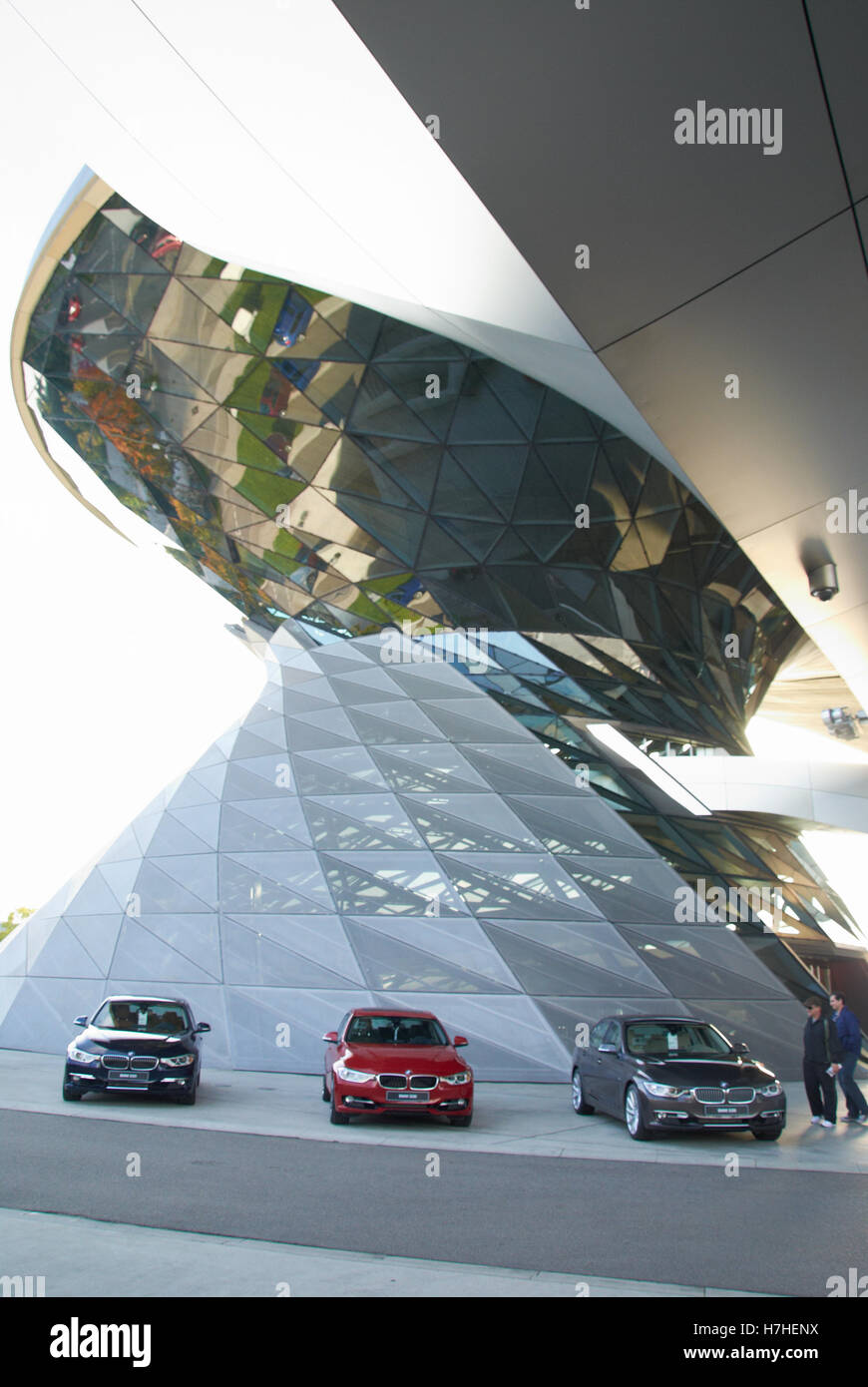 BMW Factory Showrooms by the car manufacturing site in Munich...This is the wonderful entrance area. BMW Factory, - Stock Image