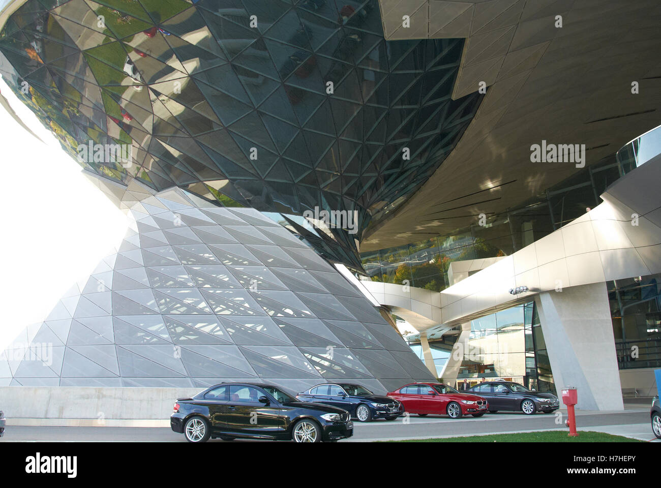 BMW Factory Showrooms by the car manufacturing site in Munich...This is the wonderful entrance area - Stock Image
