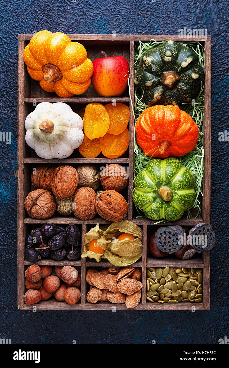 Set of autumn vegetables, fruits, nuts and seeds in a wooden box with cells top view - Stock Image