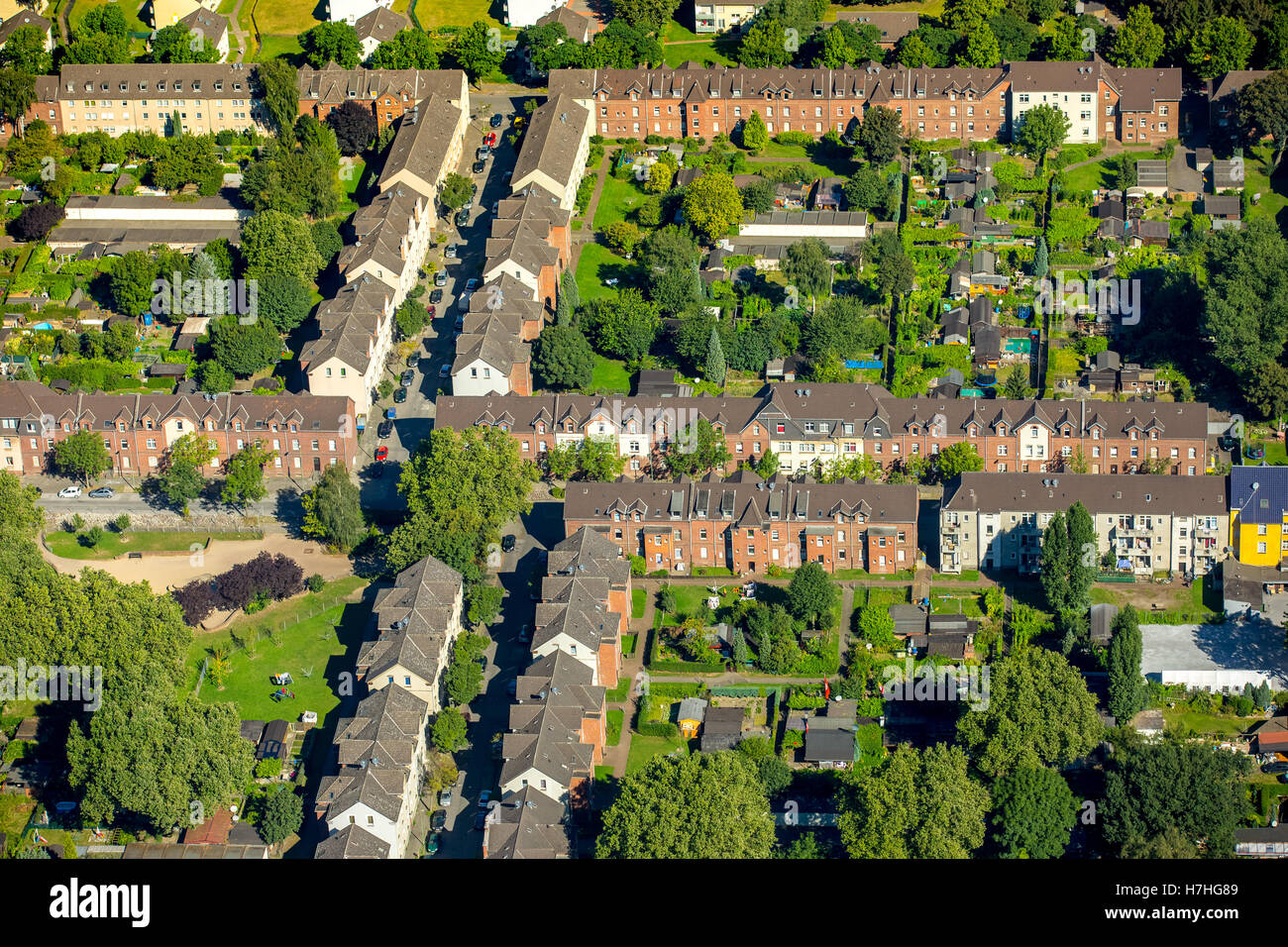 Aerial photo, Duisburg-Hamborn Jupp colony, former coal mine settlement, historic workplace settlement, miners homes,Stock Photo