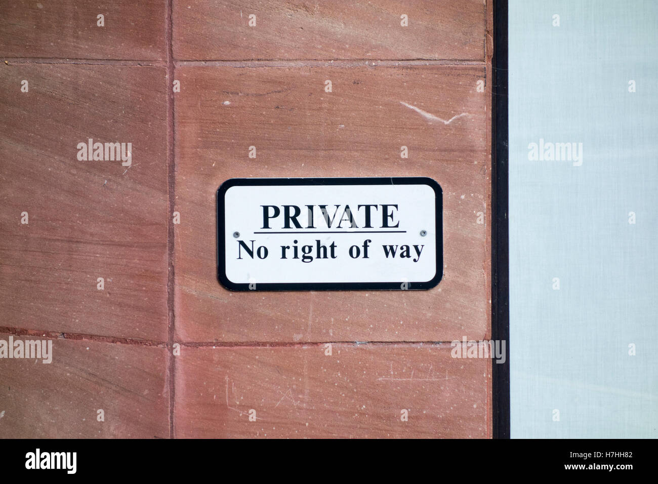 PRIVATE No right of way sign on a wall in London, UK - Stock Image