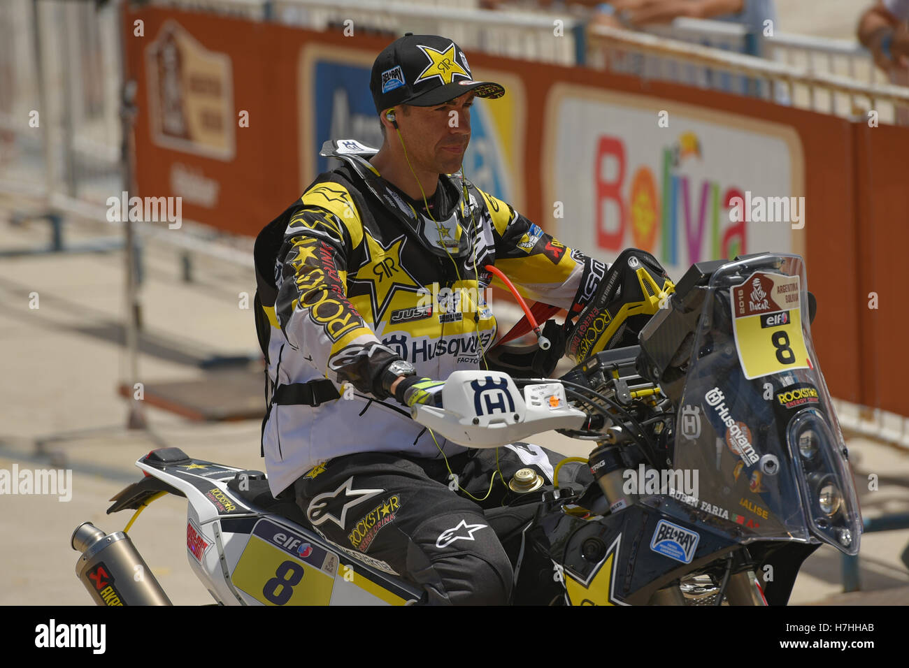 Husqvarna rider Ruben Faria (Portugal) during the symbolic start of the Dakar Rally 2016 in Buenos Aires, Argentina, - Stock Image
