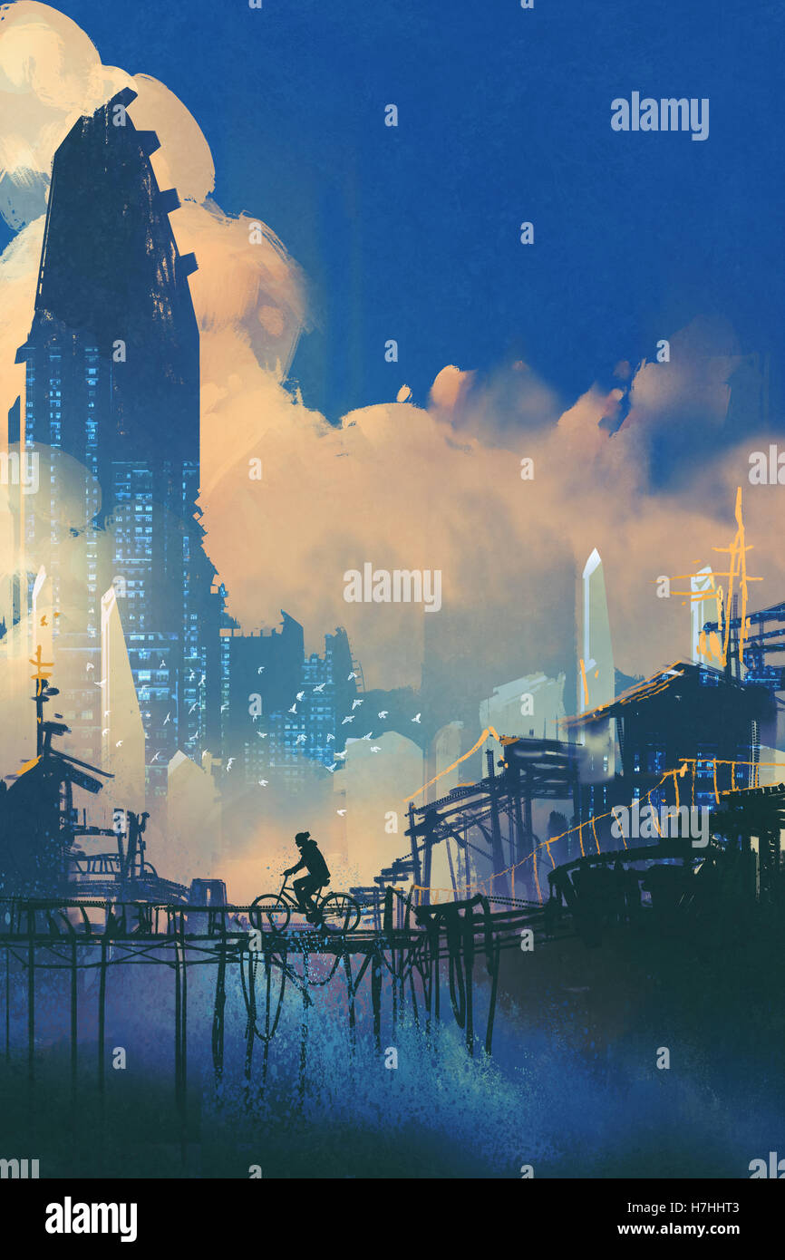 sci-fi cityscape with slum and futuristic skyscraper,illustration painting Stock Photo