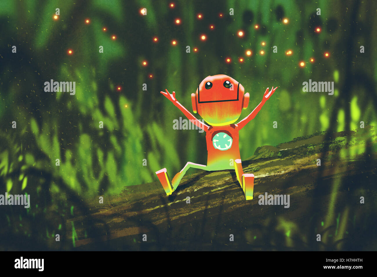 cute robot playing with fireflies in forest at night,illustration painting - Stock Image