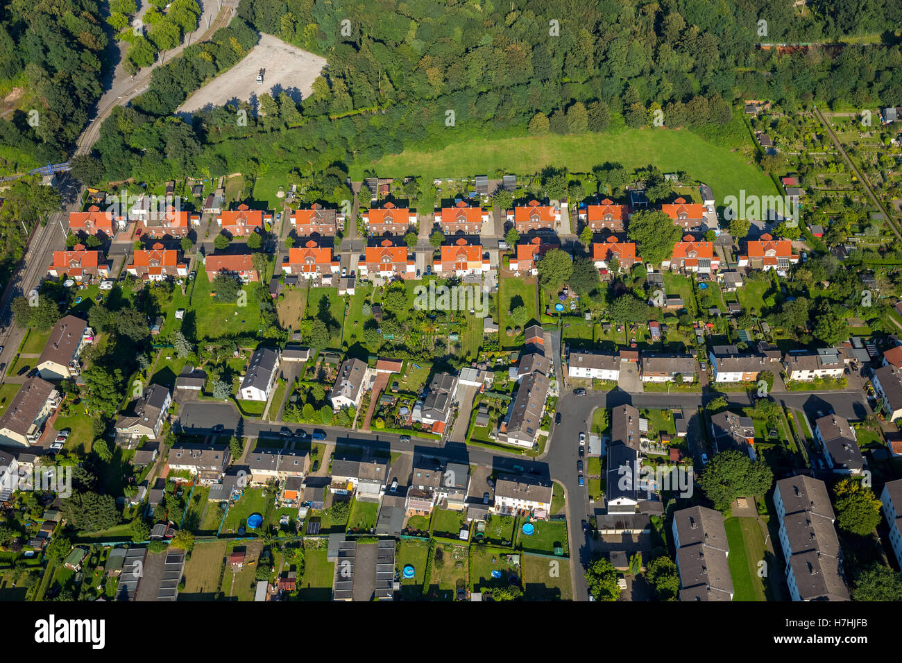 Aerial view, Essen-Katerberg Zollverein settlements with colony Hegemannshof, colony Ottekampshof and colony Zollverein - Stock Image