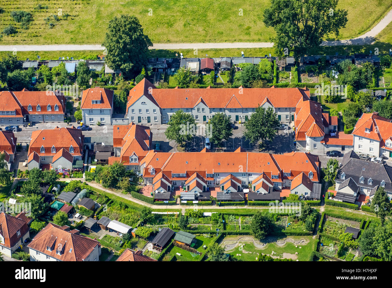 Aerial view, settlement Schüngelberg, historical mining community to collery Hugo, THS, trust company,brick buildings Stock Photo