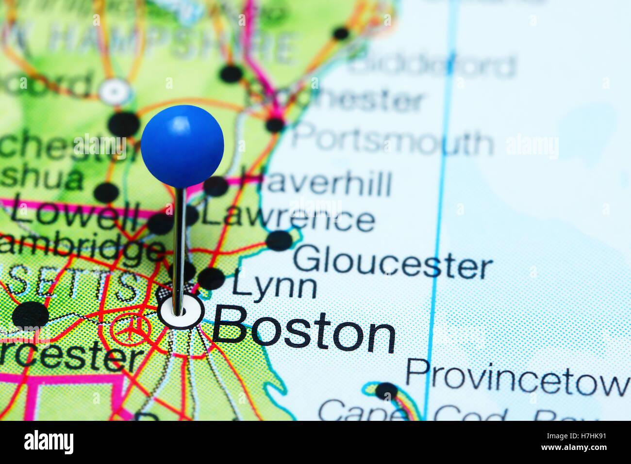 Boston On Usa Map.Boston Pinned On A Map Of Massachusetts Usa Stock Photo 125163501