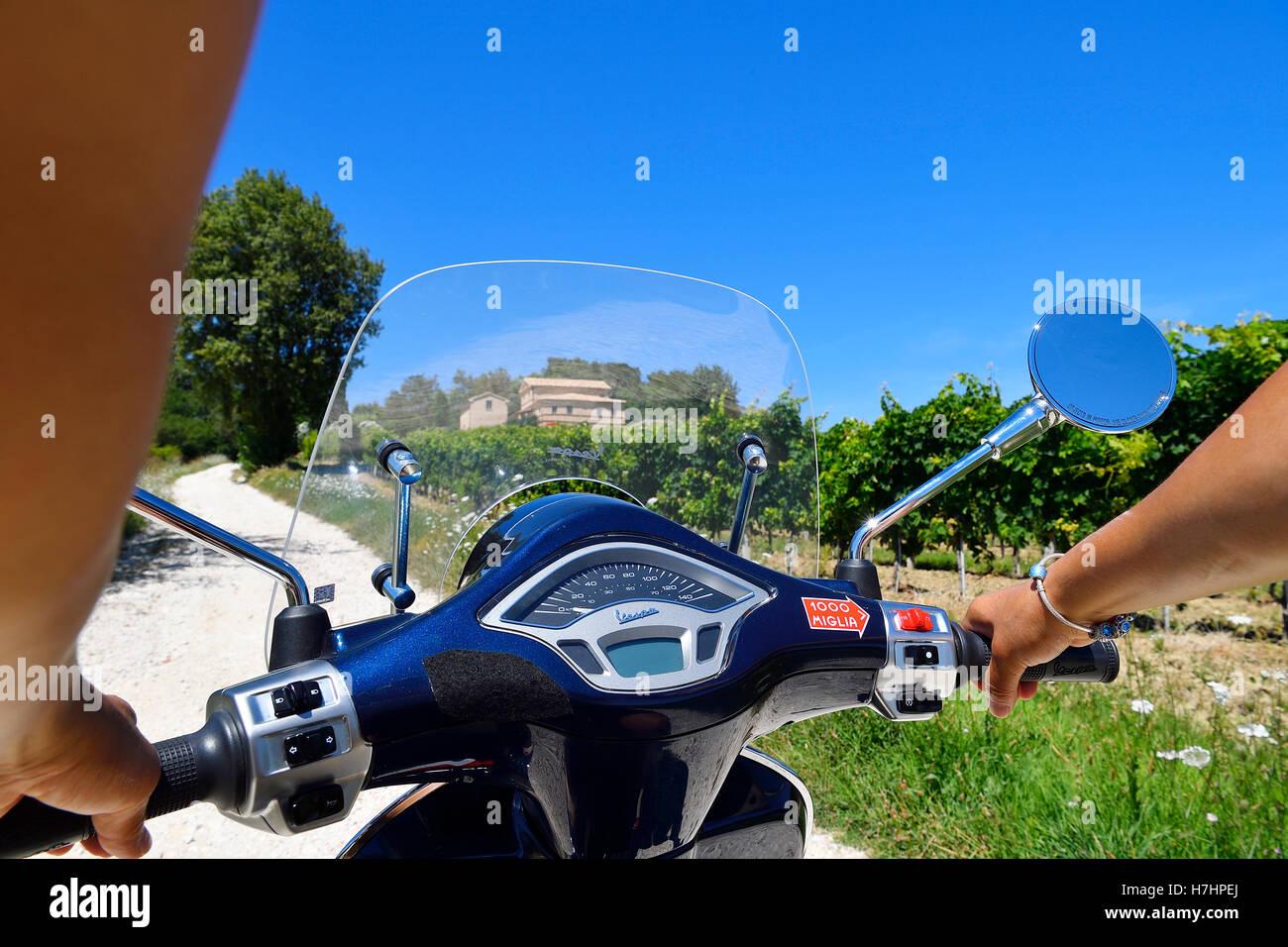 Woman holding handlebars of Vespa Primavera scooter traveling in the Sant'Amico wine country, Morro D'Alba, - Stock Image