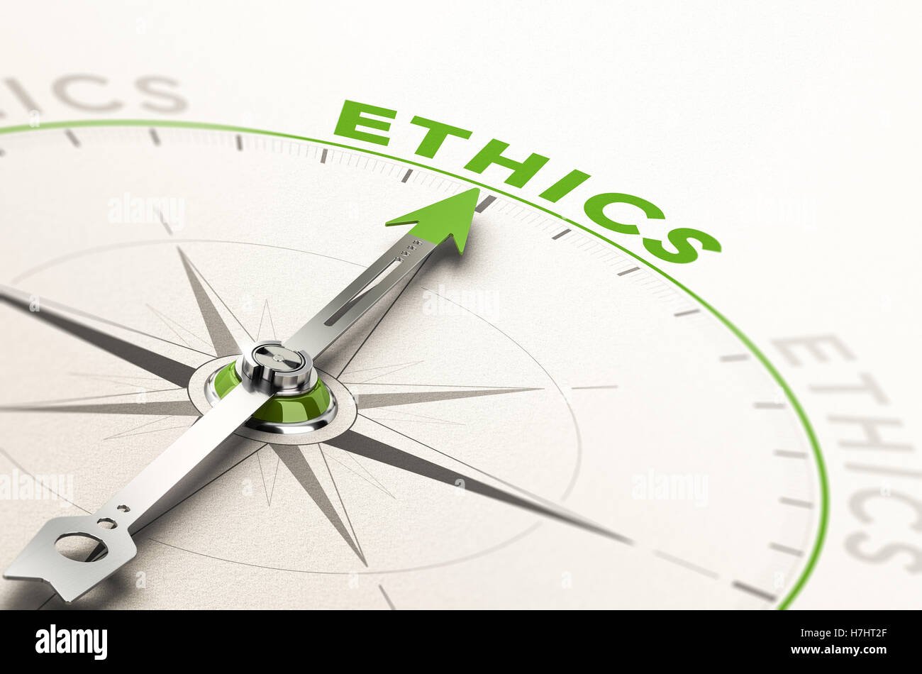 compass with needle pointing the word ethics. Conceptual 3d illustration of business integrity and moral - Stock Image