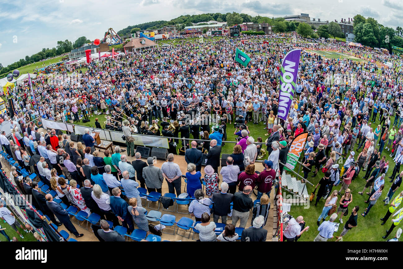 The 130th Durham Miners' Gala, Durham, England 2014, a large annual gathering of trade unionists on the second - Stock Image
