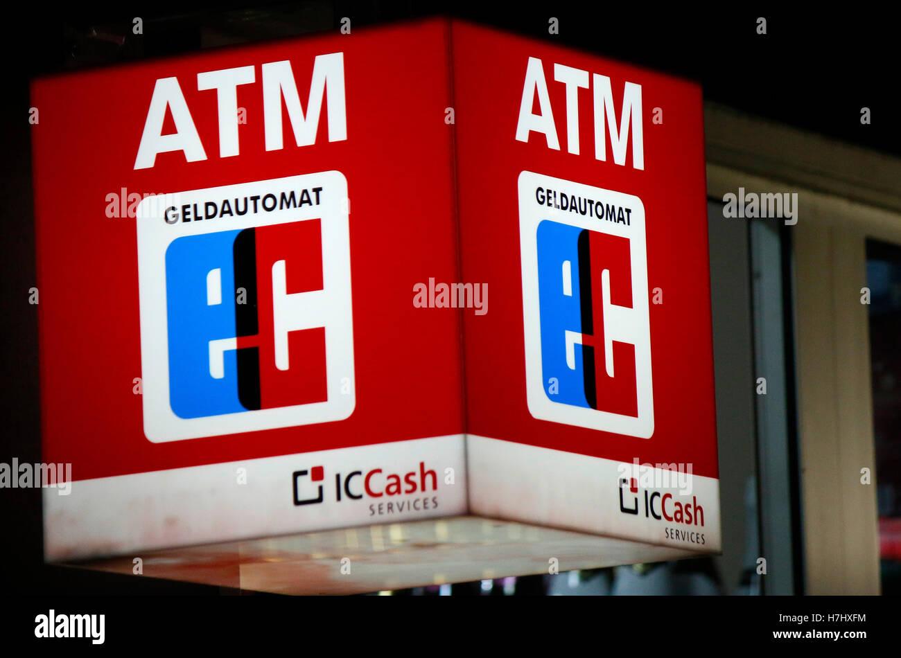 das Logo der Marke 'ATM EC', Berlin. - Stock Image