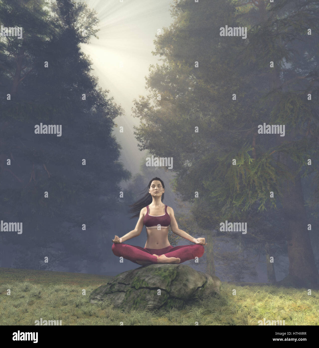 Woman meditating in lotus posture, doing yoga  on a rock  in the forest. This is a 3d render illustration. Stock Photo