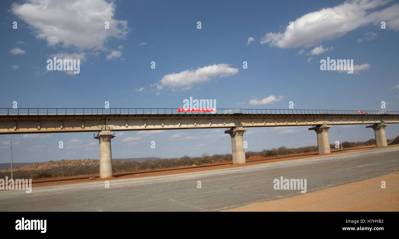Chinese railway Mombasa Nairobi under construction Mombasa Road Kenya - Stock Image