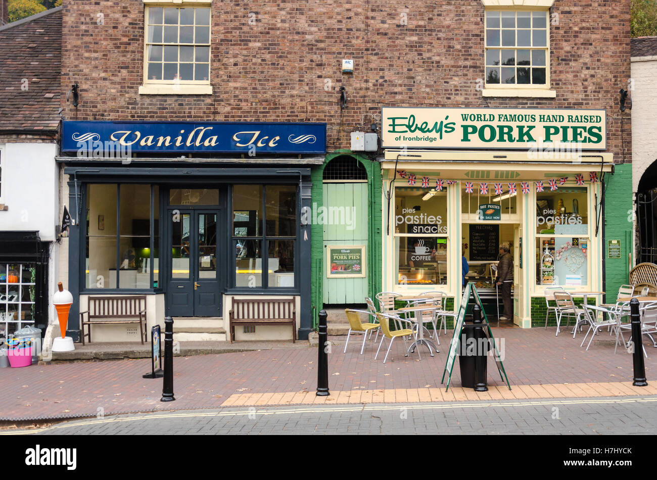 Shop fronts in Ironbridge, Shropshire, UK - Stock Image
