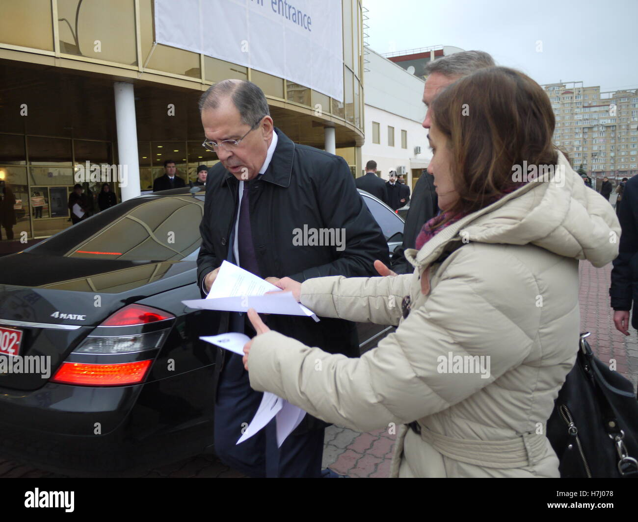 Russian foreign minister Serguei Lavrov while arriving in Kiev, Ukraine, during first day of revolution - Stock Image