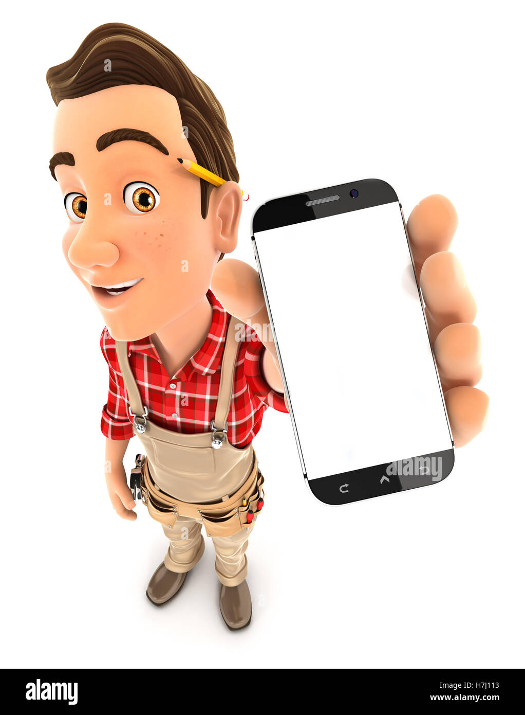 3d handyman holding smartphone, illustration with isolated white background Stock Photo