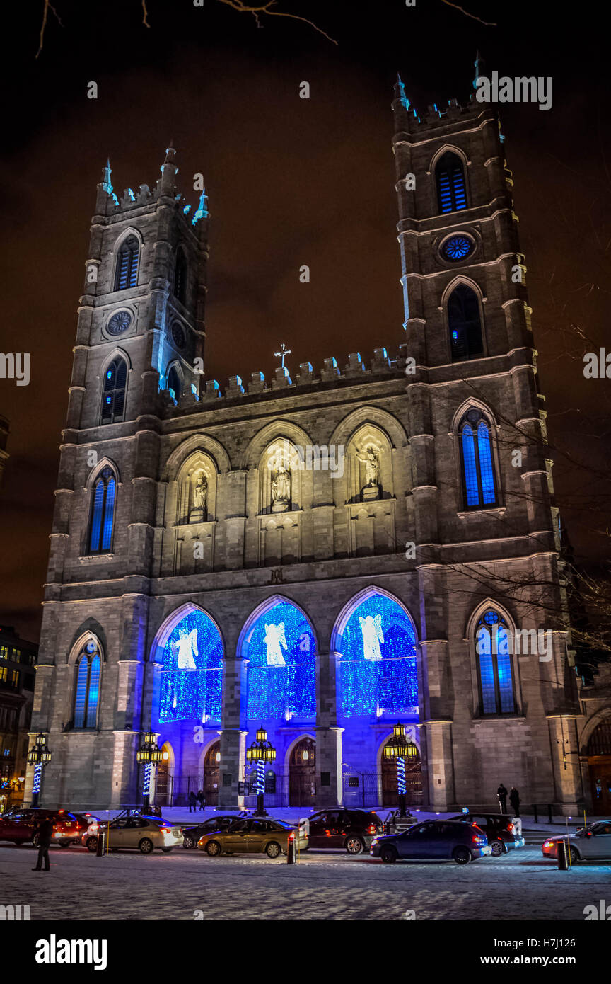 The Notre-Dame Basilica of Montreal with Christmas Decoration Stock ...