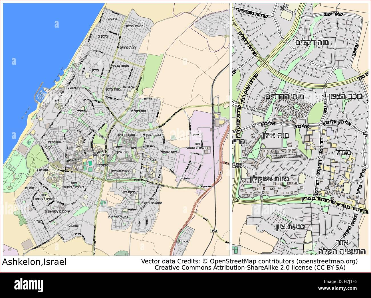 Ashkelon Israel aerial view city map Stock Photo 125171514 Alamy