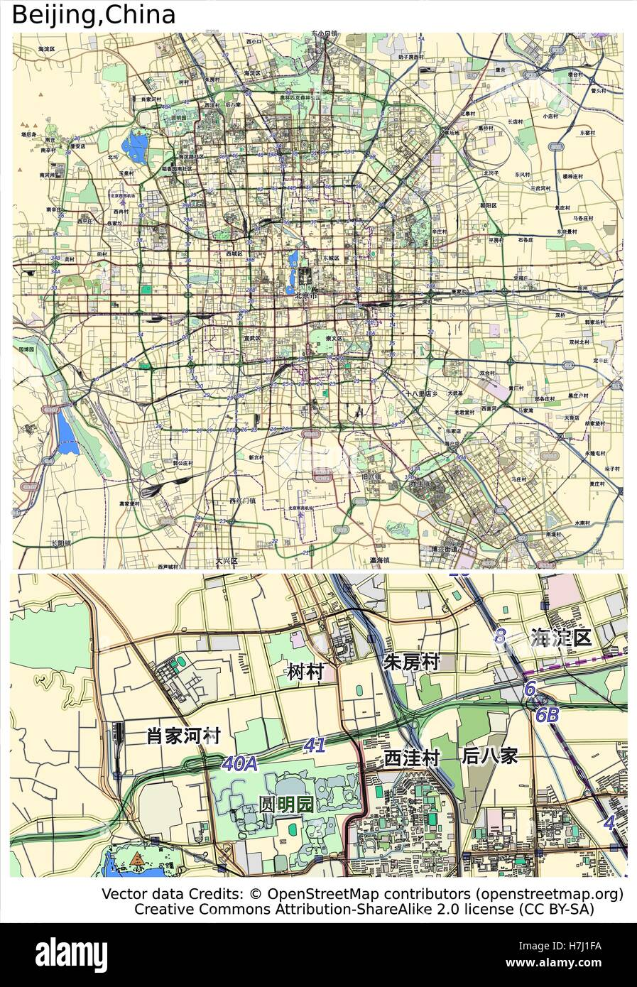 Beijing China aerial view city map - Stock Image