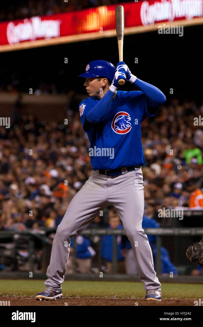 August 30, 2011; San Francisco, CA, USA;  Chicago Cubs right fielder Tyler Colvin (21) at bat against the San Francisco - Stock Image