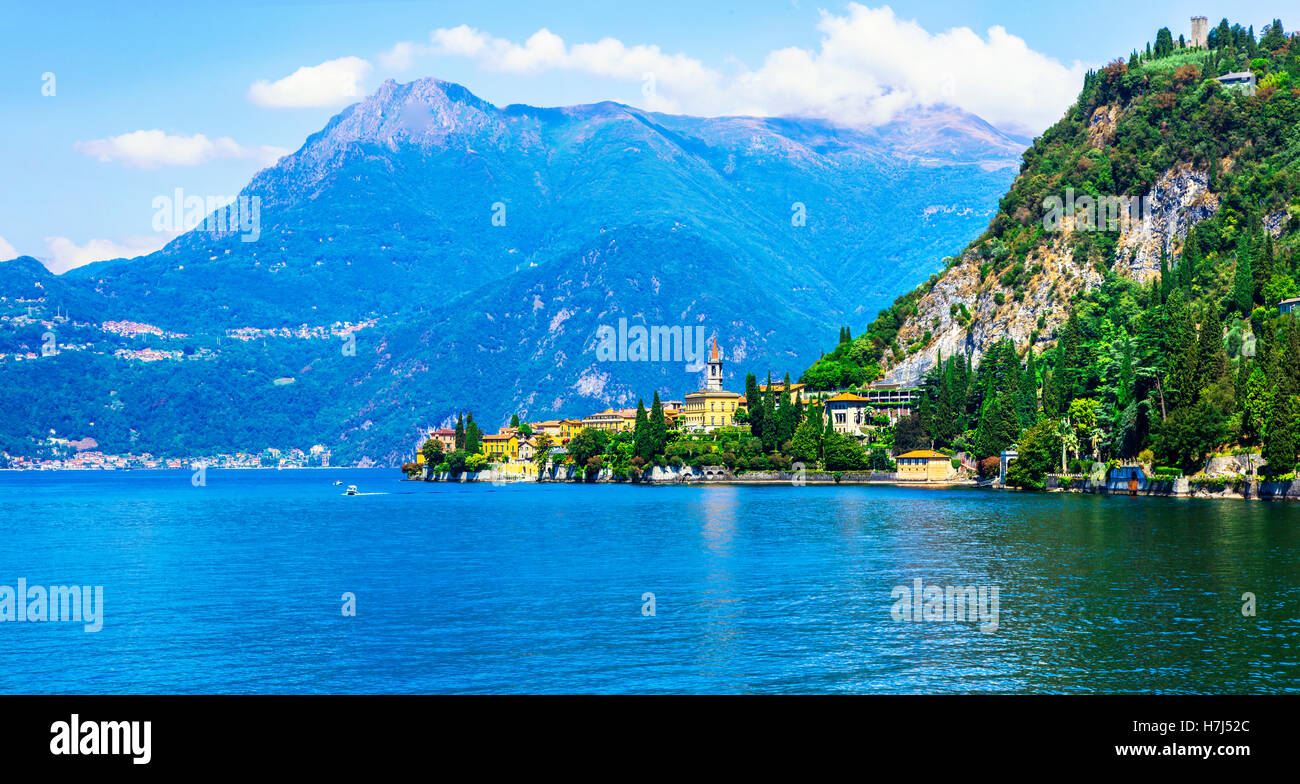 One of the most beautiful lakes of Europe - Lago di Como in northen Italy. View of Varenna - Stock Image