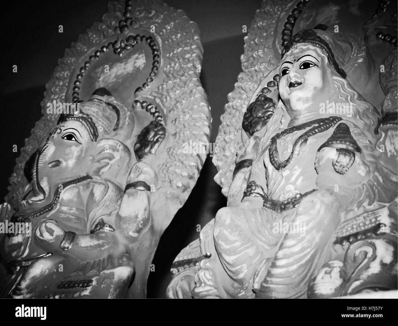 Hindu Deities - Lord Ganesha and Goddess Laksmi - Stock Image