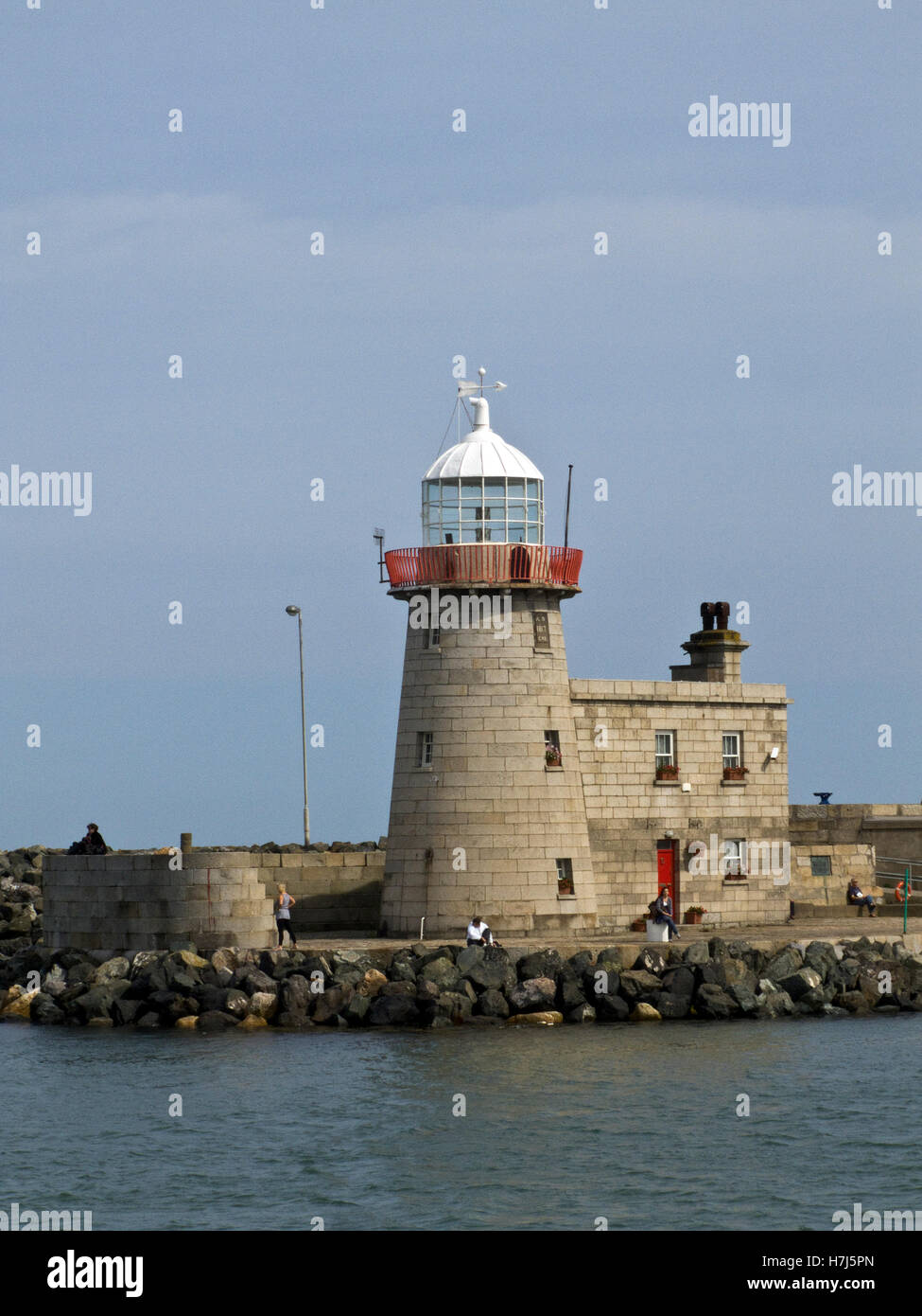 Howth Pier head lighthouse, dating from 1818, decommissioned in 1982, Howth, Co Dublin, Eire, Republic of Ireland, - Stock Image