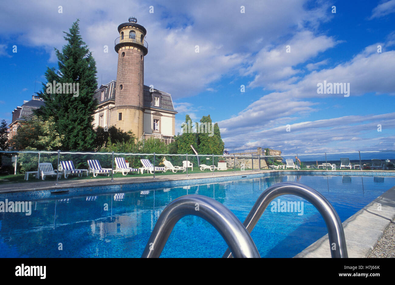 Pool At The Chateau Du0027Isenbourg Castle Hotel, Rouflach, Alsace, France,  Europe