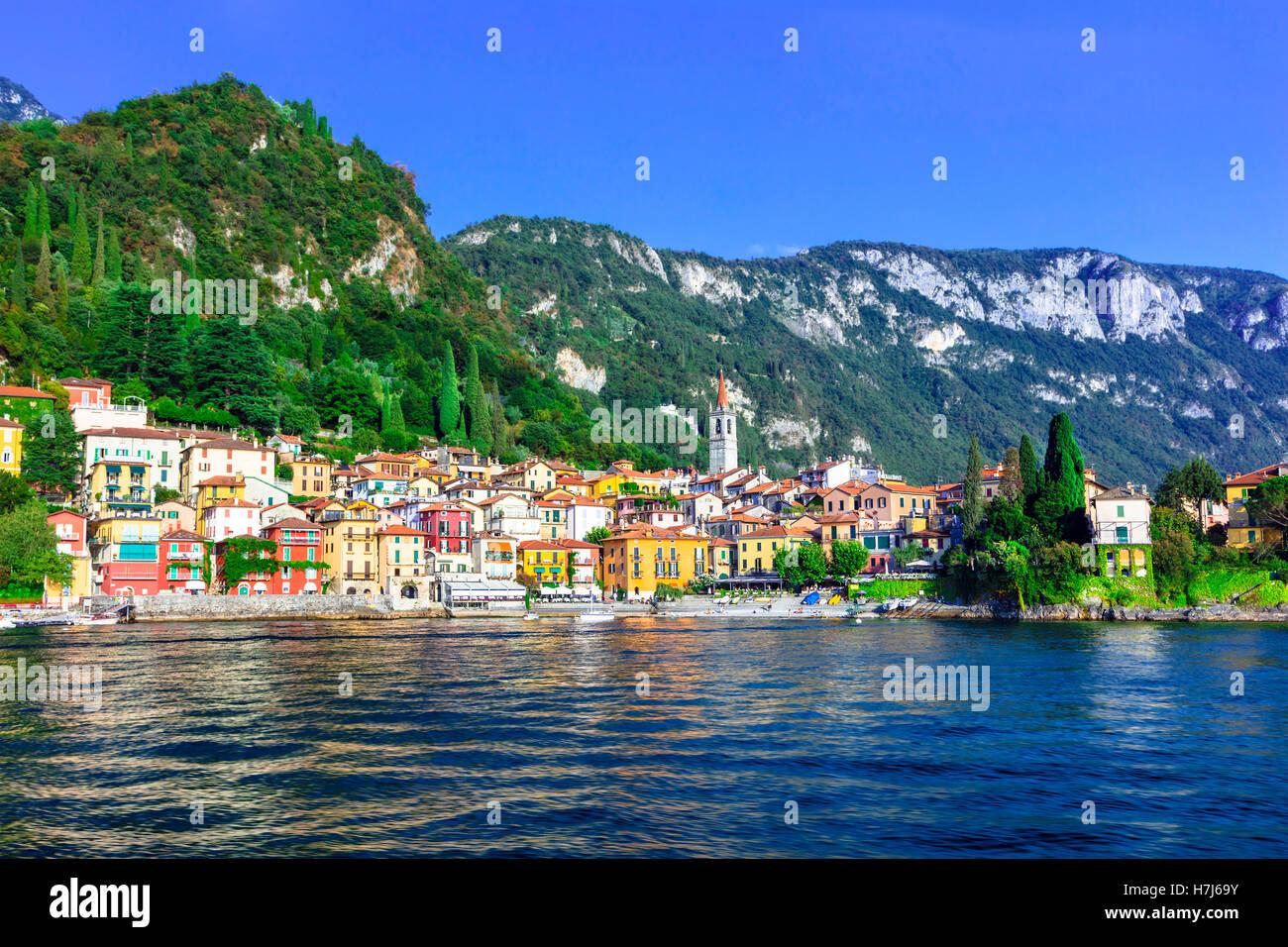 Pictoria scenery of Lago di Como - Varenna village - Stock Image