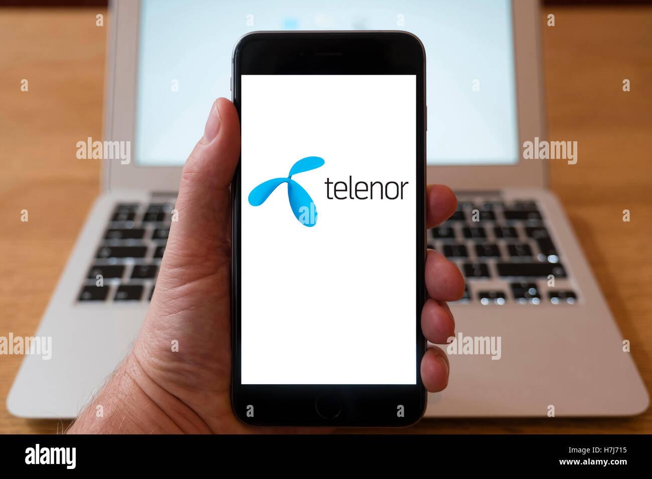 Using iPhone smartphone to display logo of Telenor , Norwegian multinational telecommunications company headquartered - Stock Image