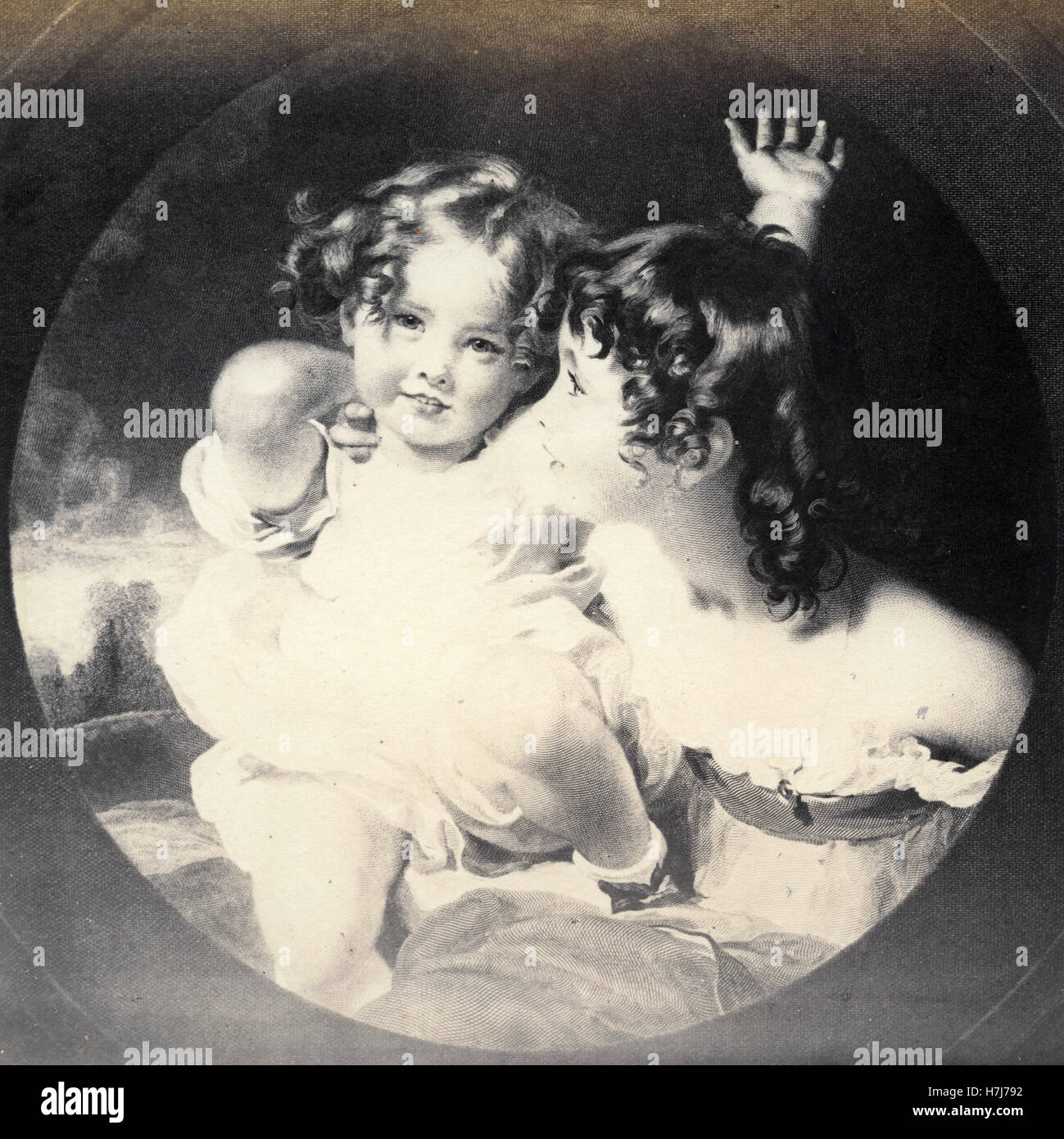 Emily and Laura Anne Calmady, print after Sir Thomas Lawrence - Stock Image