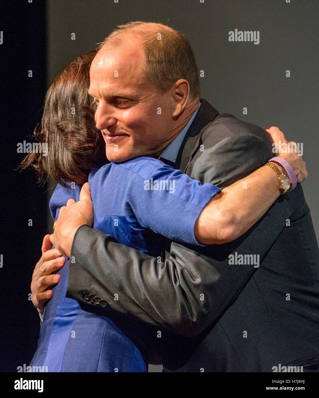 Daughter of former U.S. President Lyndon B. Johnson Luci Baines Johnson hugs actor Woody Harrelson after a screening Stock Photo
