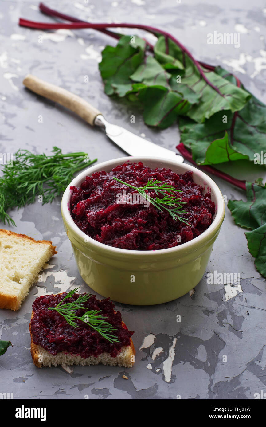Beetroot caviar and toast. Selective focus - Stock Image