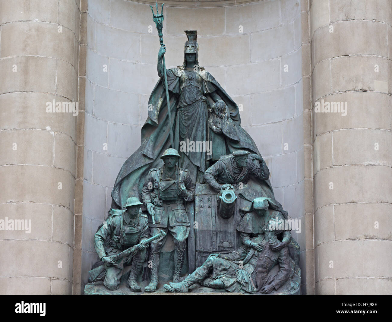 Statue In remembrance of members of the Liverpool Exchange Newsroom at Exchange Flags Liverpool UK - Stock Image