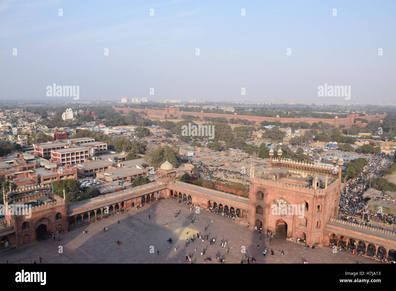 Aerial view of old Delhi and the red fort from a minar of Jama masjid mosque, Delhi (India) Stock Photo